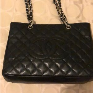 Chanel authentic black quilted tote